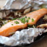 Broil Canadian Salmon wrap in foil with Miso sauce